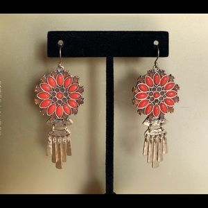 NWOT  LUCKY BRAND CORAL BURST BOHO EARRINGS